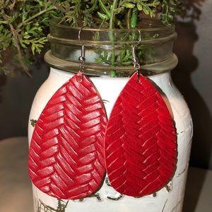 Red Lattice Print Teardrop Earrings